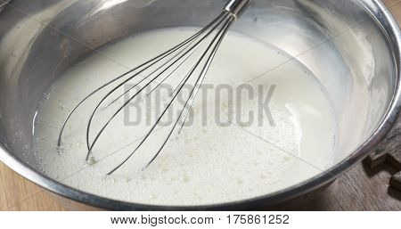 making liquid batter for crepes or blinis,