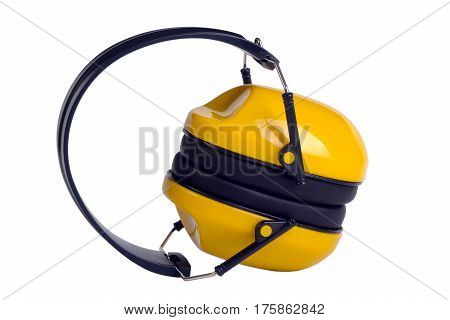 Yellow ear muffs isolated on white background
