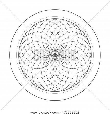 sacred geometry symbol illustration. Energy rotated circles vector shape