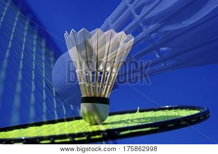 Badminton shuttlecock and racket in a blue collage.