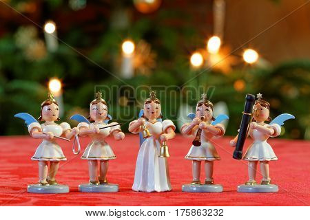 Christmas Concert with Five Decoration Musician Angels
