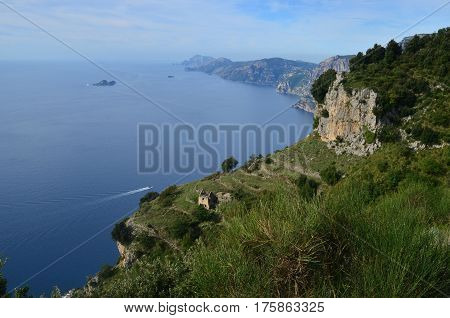 Gorgeous view of the Amalfi Coast in Italy.
