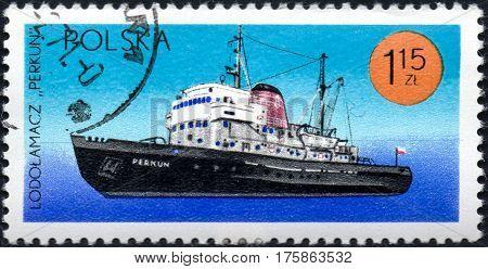 UKRAINE - CIRCA 2017: A stamp printed in Poland shows chip icebreaker Perkun series Ships under the Polish Flag circa 1971