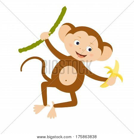 Funny monkey with banana. Design element for baby shower card scrapbook invitation baby goods and childish accessories. Isolated on white background. Vector illustration.