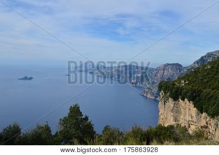 Gorgeous landscape and seascape of the Amalfi Coast in Italy.