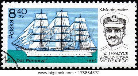 UKRAINE - CIRCA 2017: A stamp printed in POLAND shows Antoni Garnuszewski captain founder of the first Marine School and ship Dar Pomorza circa 1980