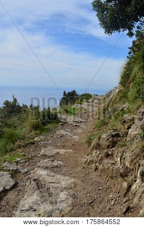 Dirt hiking trail along the Amalfi Coast in Italy.