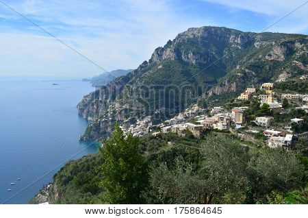 Villages along the Amalfi Coast in Italy along the Mediterranean.