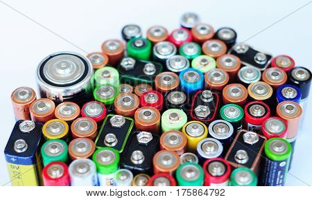 Battery Recycling. Battery Disposal. Environmental problems caused by disposal of batteries. Recycling Batteries and Battery Recycling Signs isolated