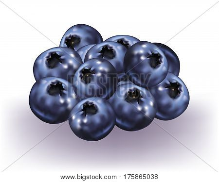 Handful of delicious Blueberries on white background