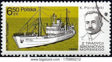 UKRAINE - CIRCA 2017: A stamp printed in POLAND shows Tradition Marine School captain K. Porebski and Chip Jan Turlejski circa 1980