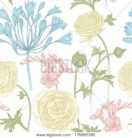 Pastel spring flowers seamless floral pattern. Hand drawing garden plants buttercup African lily freesia on white background. Vector vintage illustration. For wrapping fabric fashion paper.
