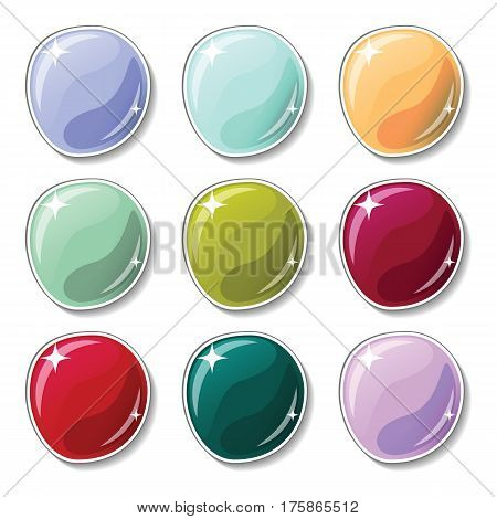 Cold gamma colored buttons with glass surface effect. Blank vector buttons set for web design or game graphic. Colorful marbles on white background. Empty bubbles for text or word. Board pins isolated