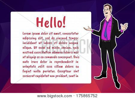 Banner with business people. Vector character with bubble talk. Vector quote for colorful web banners web sites printed materials infographics startup marketing. Guy says - hello