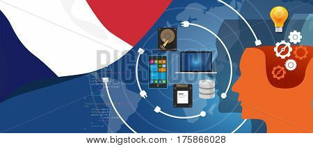 France IT information technology digital infrastructure connecting business data via internet network using computer software an electronic innovation vector