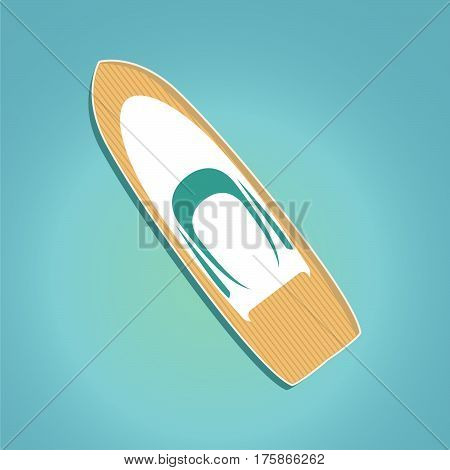 Luxury travel seaway ocean transport vector motor yacht boat in trendy flat design.White yacht boat with the wooden deck top view.Voyage and elements of design for the tourist websites and firms.