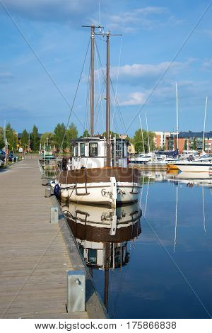 LAPPEENRANTA, FINLAND - AUGUST 21, 2016: The old Lydia yacht in the harbor of Lappeenranta in the sunny summer day