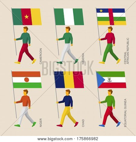 Set Of Simple Flat People With Flags Of African Countries