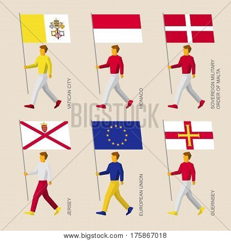 People With Flags - Vatican, Monaco, Malta, Jersey, Guernsey, Eu