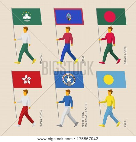 Set Of People With Flags Of Asia And Oceania Countries