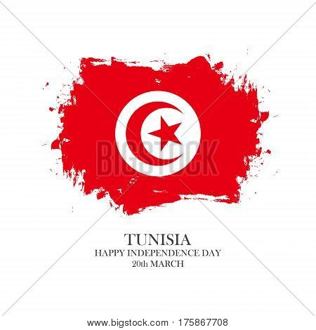 Tunisia Independence Day, 20 march greeting card with tunisian national flag brush stroke background. Vector illustration.