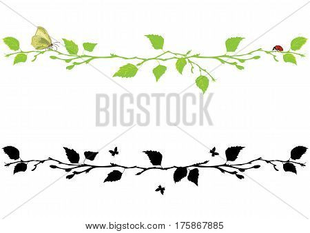 set of vector borders with branch of birch tree butterfly and ladybird