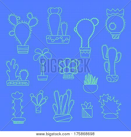 Outlined cactus set. Doodle succulents in pots. Hand-drawn ice mint cactus vector illustration on blue background. Home flower icons. Cute cactus line art. House floral decor cacti clipart isolated