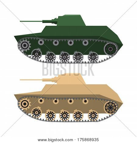 The military tank in flat style  a machine gun in a desert, summer camouflage. For infographic, the historical websites and book and magazines.Element for games
