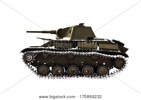 Battle tank t-70 on a white background