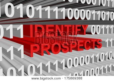 identify prospects presented in the form of binary code 3d illustration