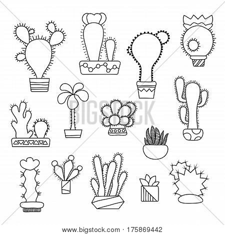 Outlined cactus set. Doodle succulents in pots. Hand-drawn cactus vector illustration on white background. Home flower icons. Black and white cactus line art. House floral decor cacti clipart isolated