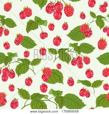 Colorful pattern with raspberries. Sweet berry. Perfect for wallpaper, surface textures, textiles, packaging paper products and fruit farming products.