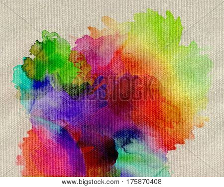 bright rainbow-colored paints on light beige canvas