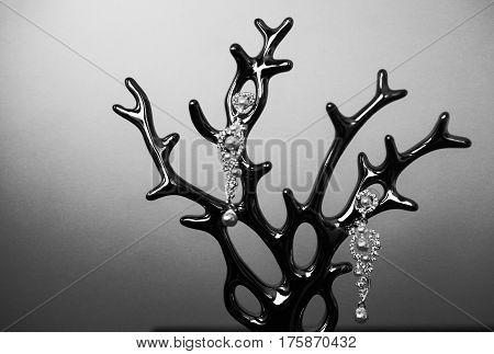 Charming Wedding Bride earring on a stand