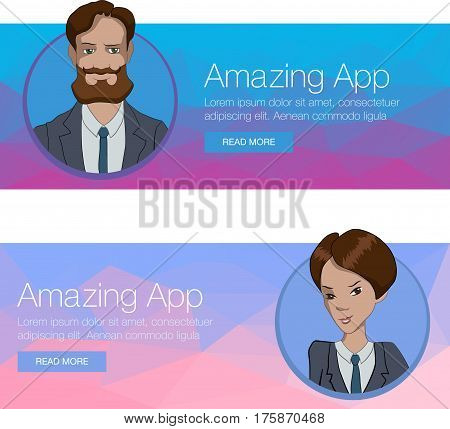 Banner with boring people. Vector illustration character with bubble talk. Vector quote for colorful web banners web sites printed materials infographics startup marketing. Girl says - hello