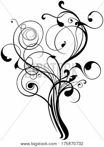 floral flourish ornament texture create a tree shape on white background