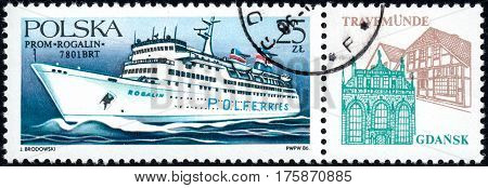 UKRAINE - CIRCA 2017: A stamp printed in POLAND shows Ferryboats Rogalin circa 1986