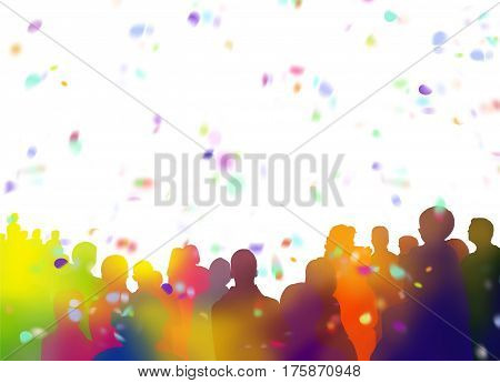 silhouettes of illustrated spectators with confetti and ticker tapes shapes added on white background