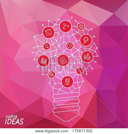 Ideas for techology. Tools and services for network. Light bulb with icons in flat style for tools programs slides. Vector illustration concept of UX thought and enlightenment.