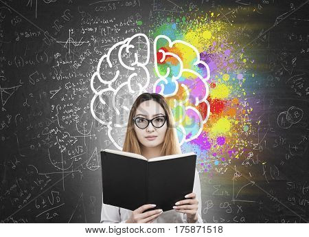 Woman With Book And Colorful Brain Icon
