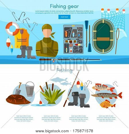 Summer fishing professional fisher infographics and elements vector template