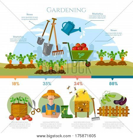 Gardening farmer grows vegetables on his land cartoon vector. Farm agriculture infographics gardening farmer natural food farmer products