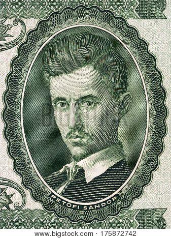 Sandor Petofi portrait from Hungarian money - ten Forint
