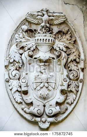 Sinaia, Romania - November 1, 2012. The Peles Castle, Detail Of Royal Logo