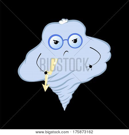Cute cloud character cartoon vector illustration. Angry typhoon cloud in glasses. Sad character cloud with flash light. Cartoon or comic style drawing for nursery design. Aggressive emotional sticker