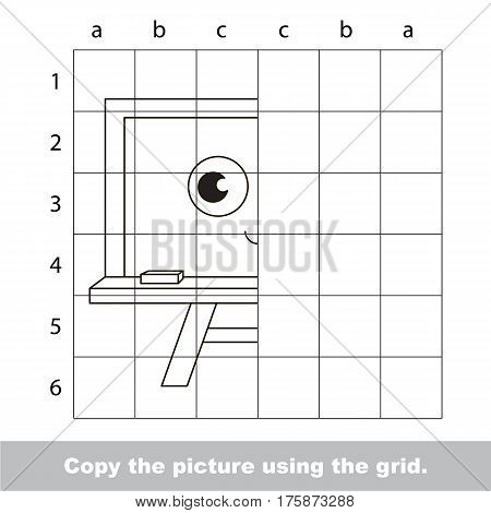 Finish the simmetry picture using grid sells, vector kid educational game for preschool kids, the drawing tutorial with easy game level for half of Board.