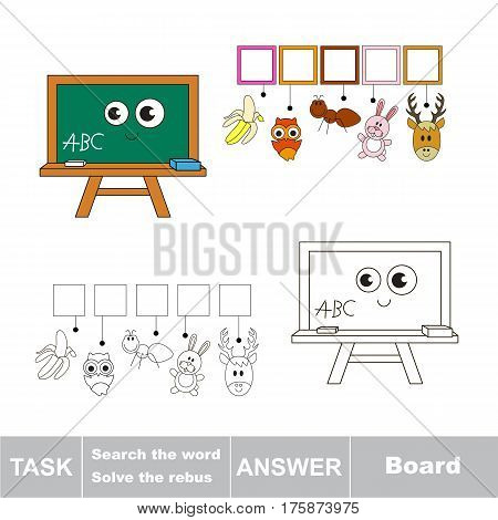 Educational rebus game for preschool kids with easy game level to find solution and write the hidden word in grid cells - Board.