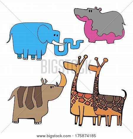 animal giraffe vector linear elephant hippo rhino