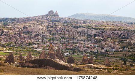 Wonderful landscape of Cappadocia in Turkey near Goreme. Uchisar on view.