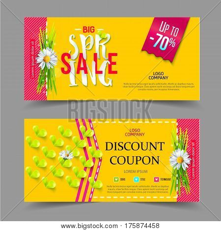 Spring sale coupons. Colorful Design with Chamomile flower and text on yellow Background for Seasonal Promotion. Voucher template. Vector illustration.